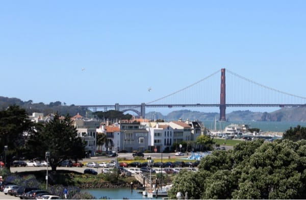 A few lovely SF houses with the Golden Gate Bridge in the back