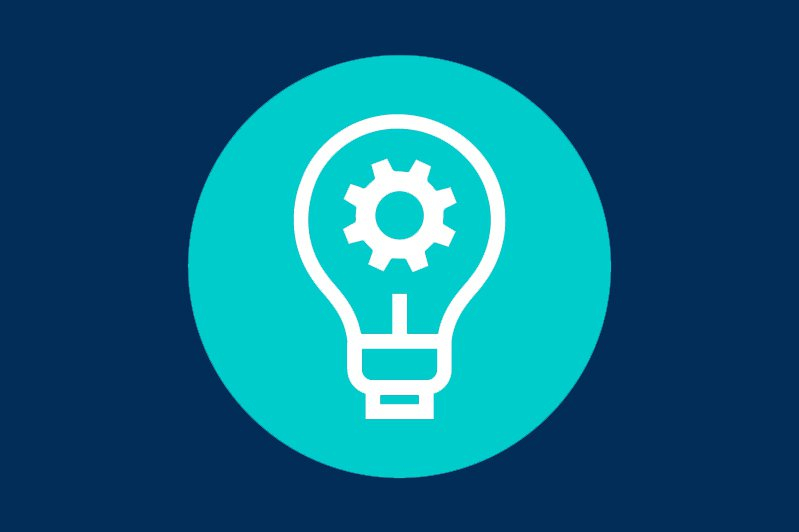 Icon of a lightbulb with a gear inside of it to represent Do