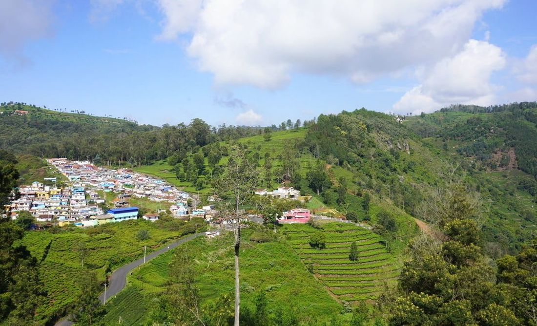 A view of Bellatimuttam village and the hills winding down to Halakarai valley