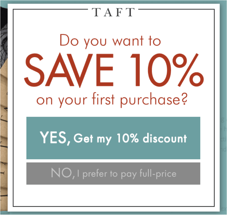 Taft personalized popup