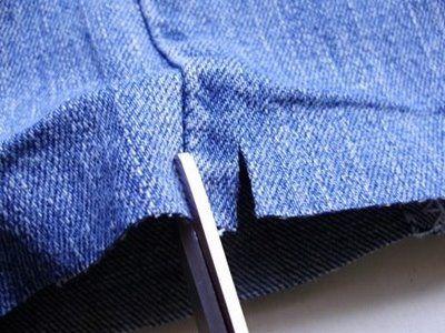 Découpe du bas d'un jean