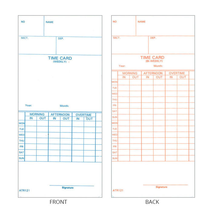 ATR120 Time Cards - Pack of 250
