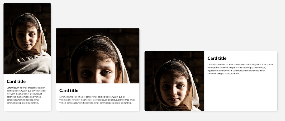 A screenshot of a demo using the aspect-ratio and object-fit properties to scale and crop a a portrait of an Egyptian child used in a card component. The aspect ratio of the image responds to the size of the component, and the image is scaled to fit inside its container. Unless the aspect ratio is tall enough, the portrait gets cropped in an undesirable way.