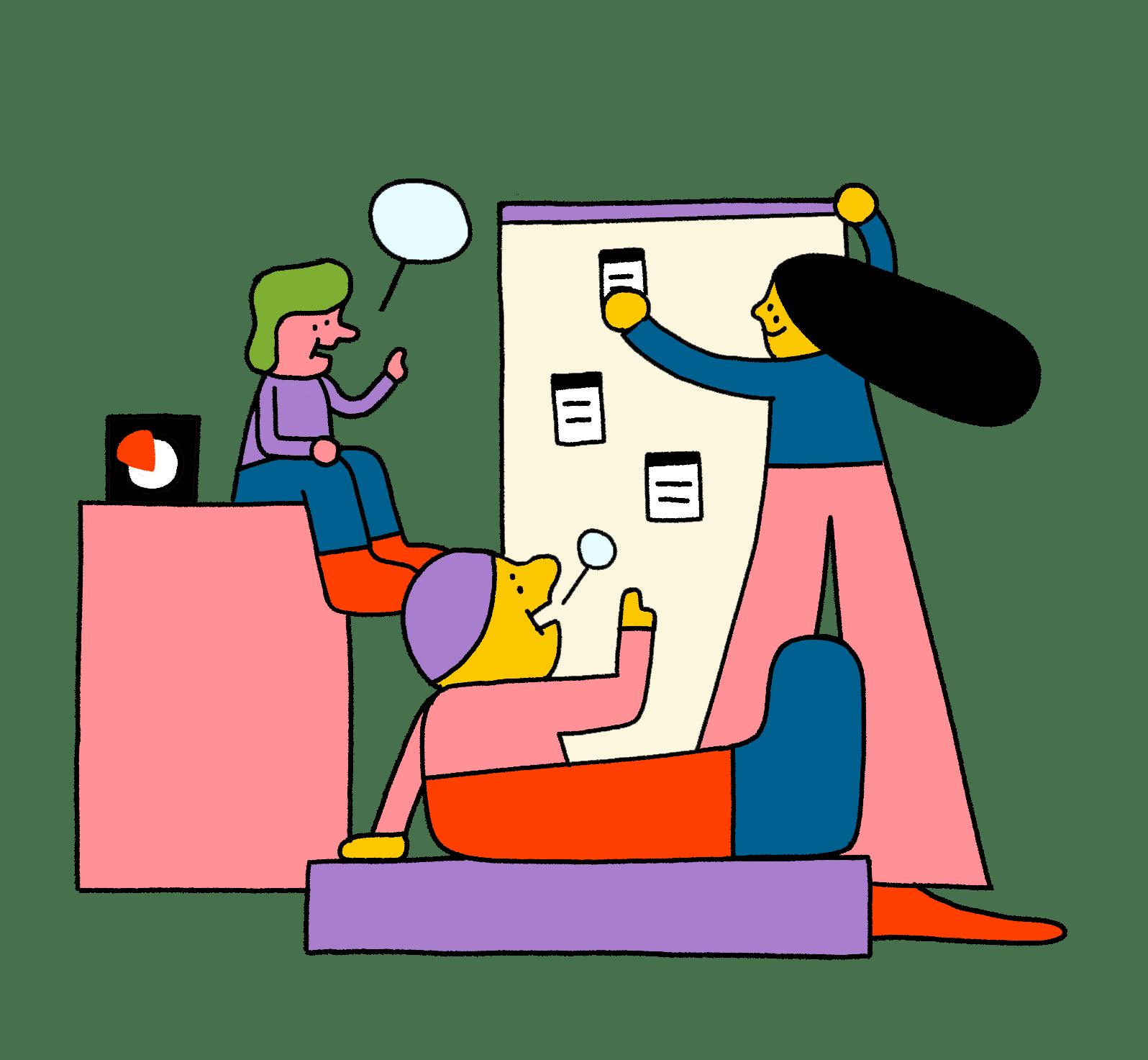 Illustration eines Meetings mit drei Personen