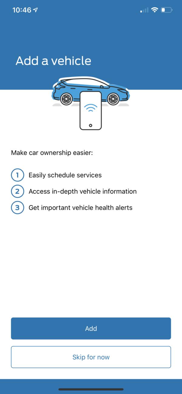 FordPass Add Vehicle