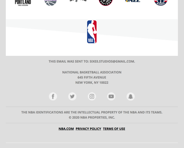 An email from NBA.com.