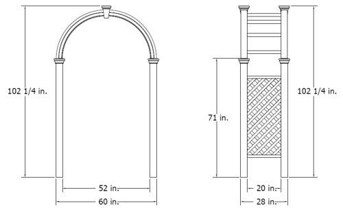Nantucket Legacy Arbor wireframe dimensions