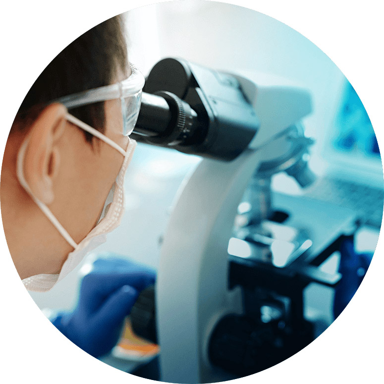 Person looking through a microscope