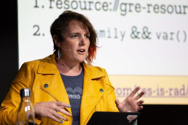 Miriam Suzanne at SmashingConf NY in 2020