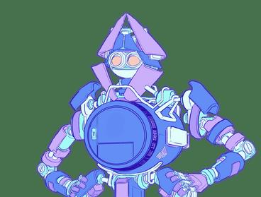 Eine Illustration eines Roboters mit einem Safe als Oberkörper, um Ethereum-Wallets zu repräsentieren