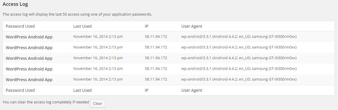App Passwords Access Log