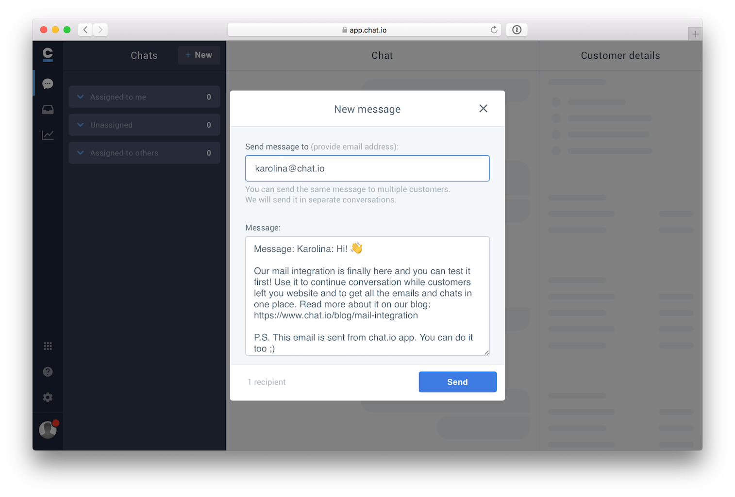 live chat email integration