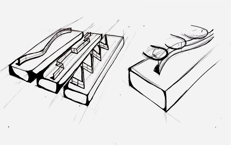 Sketch of a group of boxes which you trace the tip of your finger along