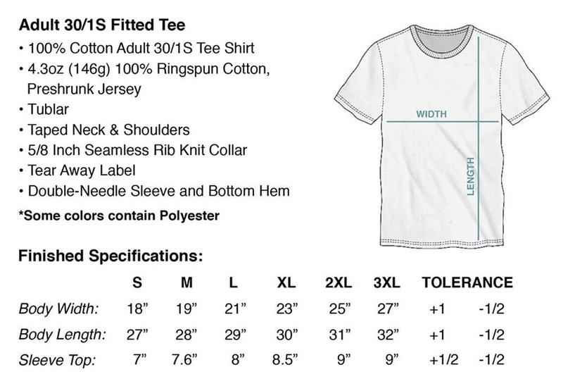 Fallout Automatron Black T-Shirt Size Chart