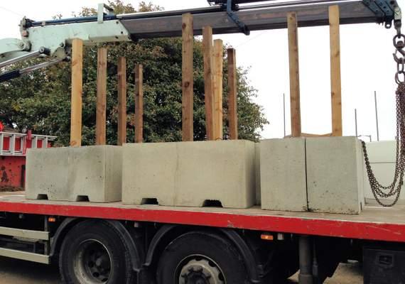 1.5m Concrete Barrier on Truck - close