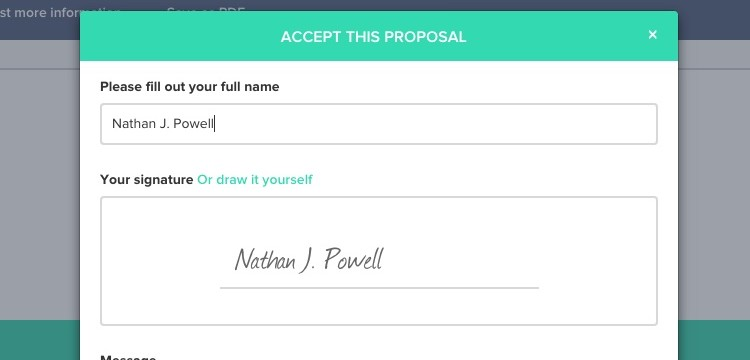 digitally sign proposals with Nusii proposal software