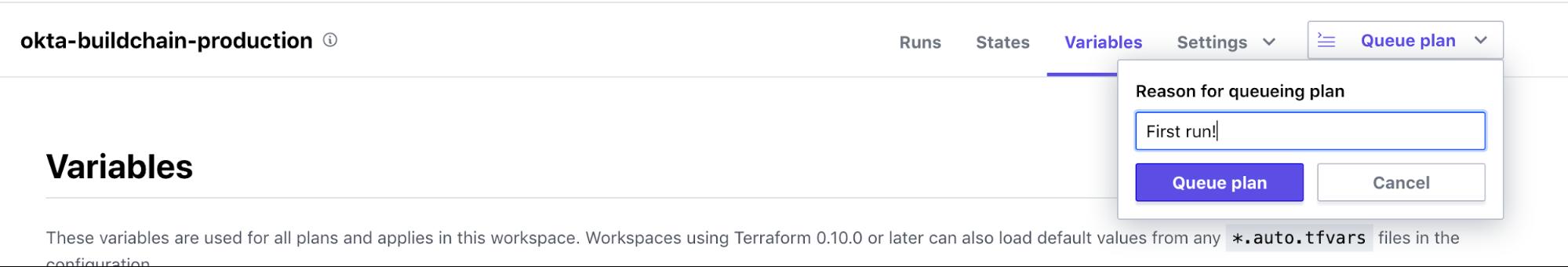 Terraform Cloud variables