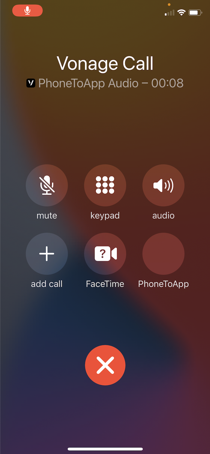 An active call in progress