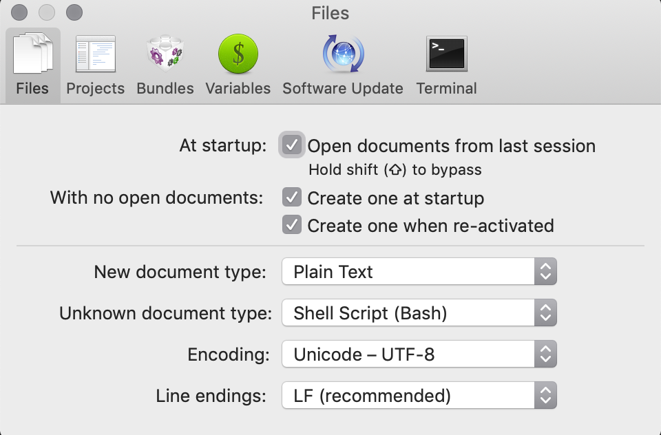TextMate Configuration Screenshot