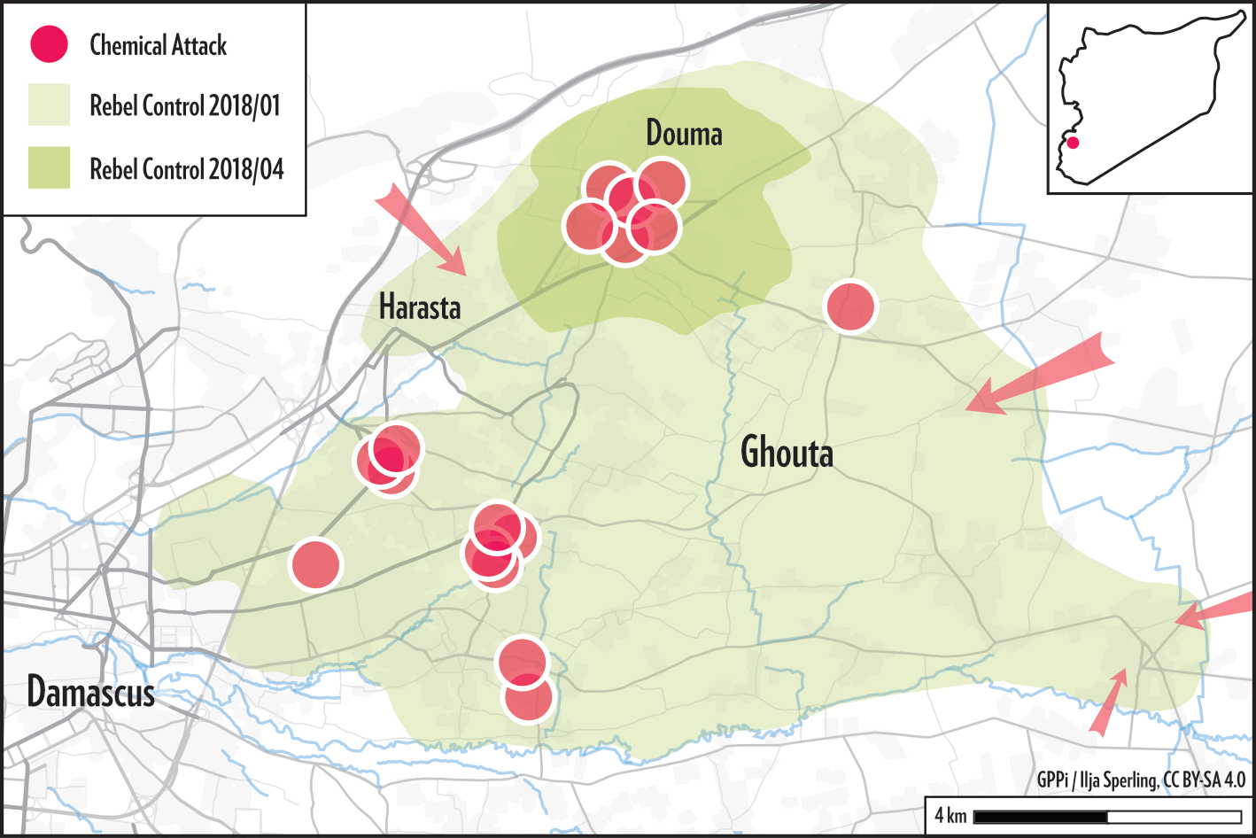 Map of the 2018 Douma Attack from our 2019 Report