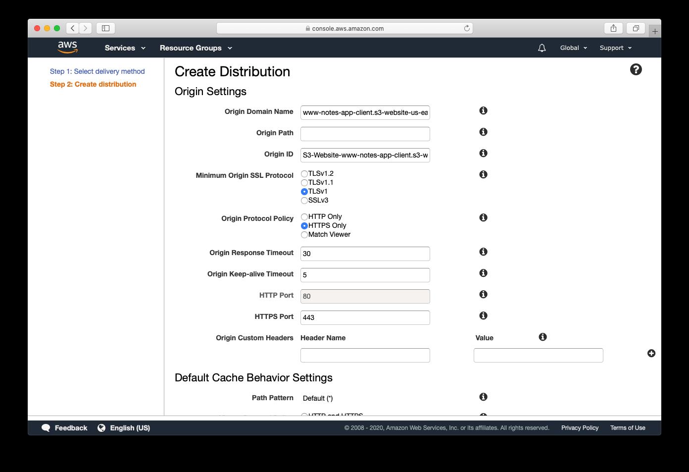 Set origin domain name and protocol policy screenshot