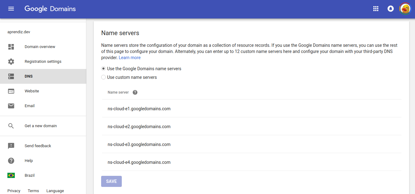 Interface administrativa de DNS do Google Domains