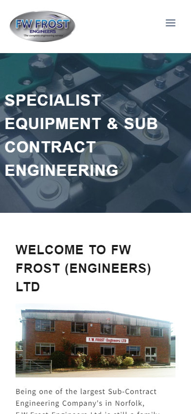 F.W.Frost (Engineers) Ltd website frontpage on a mobile