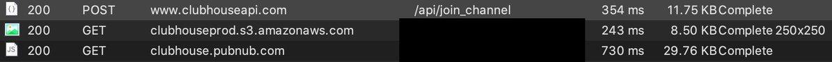 Screenshot eines Mitschnitts des Datenverkehrs von Clubhouse