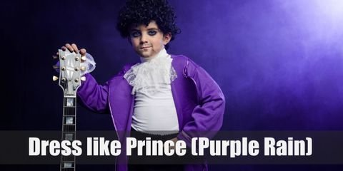 In line with his theme, Prince wears a dominantly purple outfit during his performance. He wears a white medieval ruffle shirt, black pants, and a bright purple long coat.