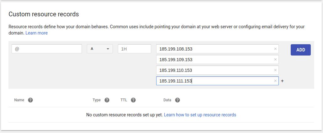 Adicionando os endereços de IP em Custom Resource Records