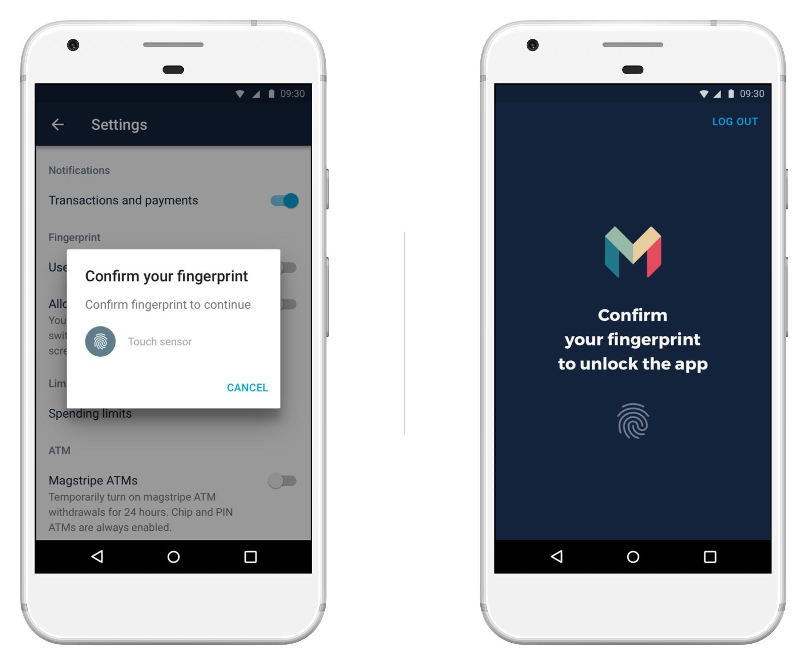 Screen showing fingerprint unlock in the Monzo Android app