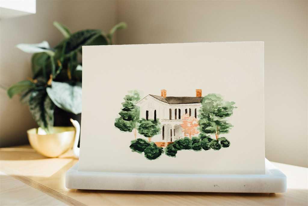 Merrimon Wynne House watercolor wedding venue illustration