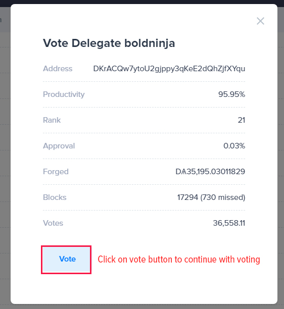 Click on delegate you wish to vote for