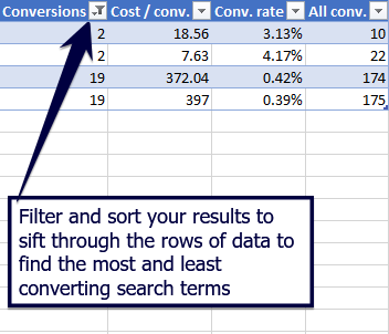 Filtering search terms on Excel