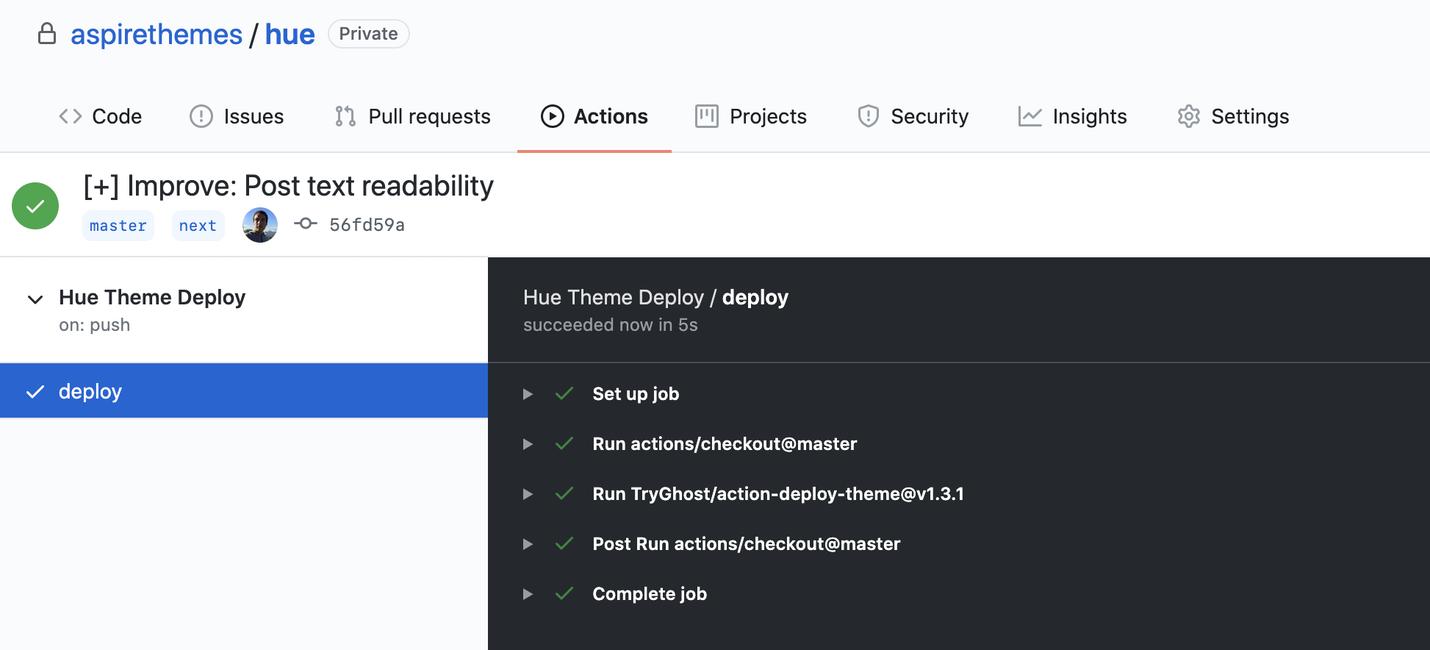 Hue GitHub Actions