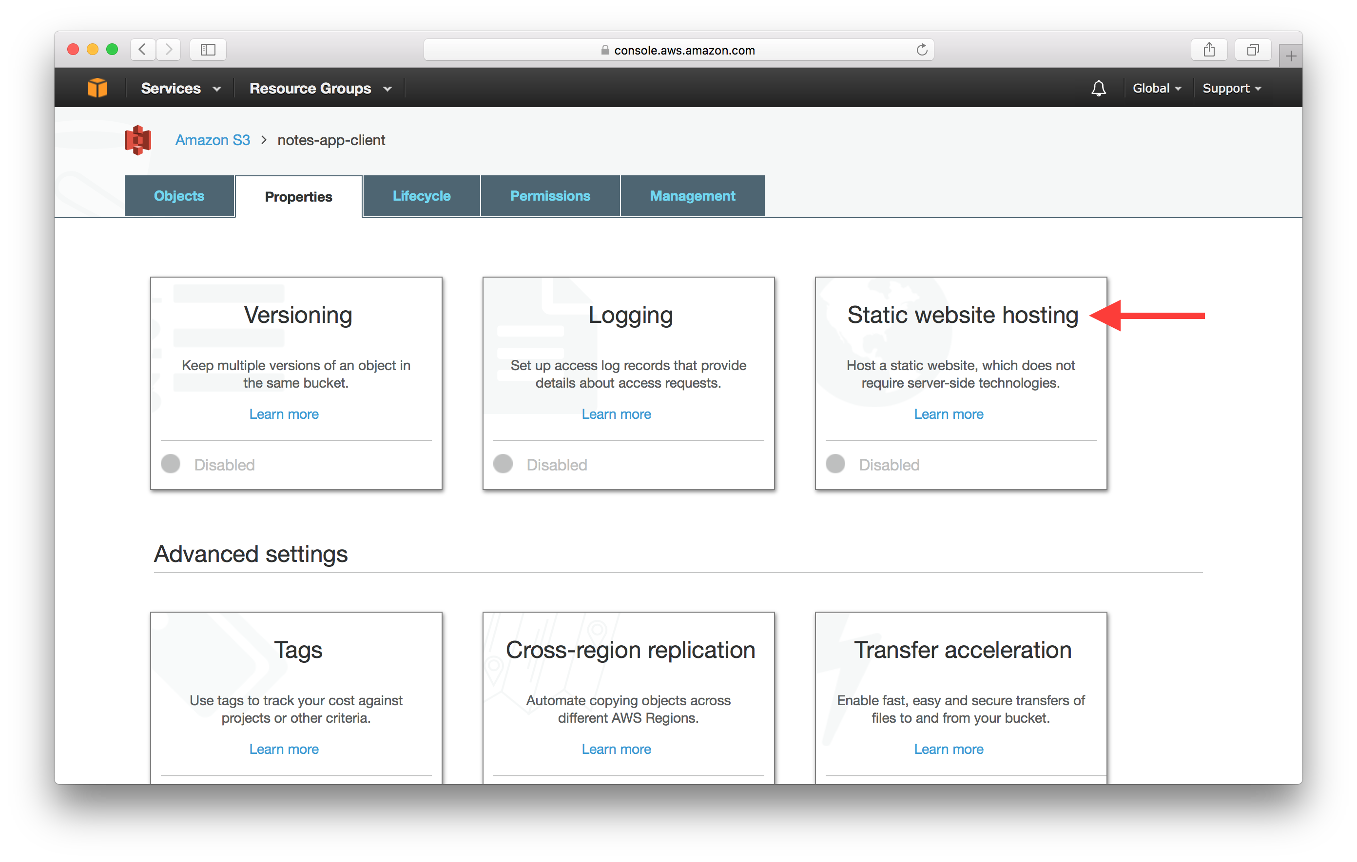 Select static website hosting screenshot