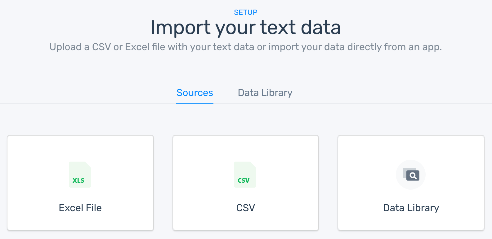 The option to upload a CSV or Excel file or download from the Data Library.