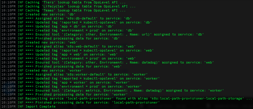 A successful import of service metadata into OpsLevel via OpsLevel's Kubernetes Sync