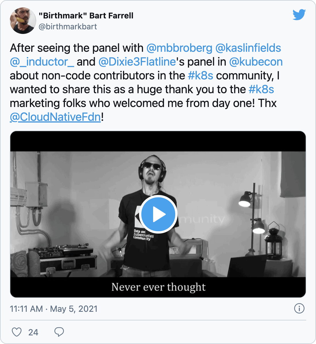 @birthmarkbart on Twitter: After seeing the panel with @mbbroberg @kaslinfields @_inductor_ and @Dixie3Flatline's panel in @kubecon about non-code contributors in the #k8s community, I wanted to share this as a huge thank you to the #k8s marketing folks who welcomed me from day one! Thx @CloudNativeFdn!