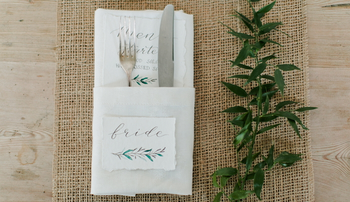 Hand painted place card and menu. Watercolor and calligraphy. item thumbnail