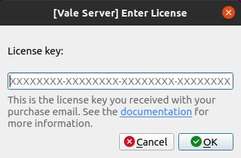 A screenshot of Vale Server's 'Enter License' dialog.