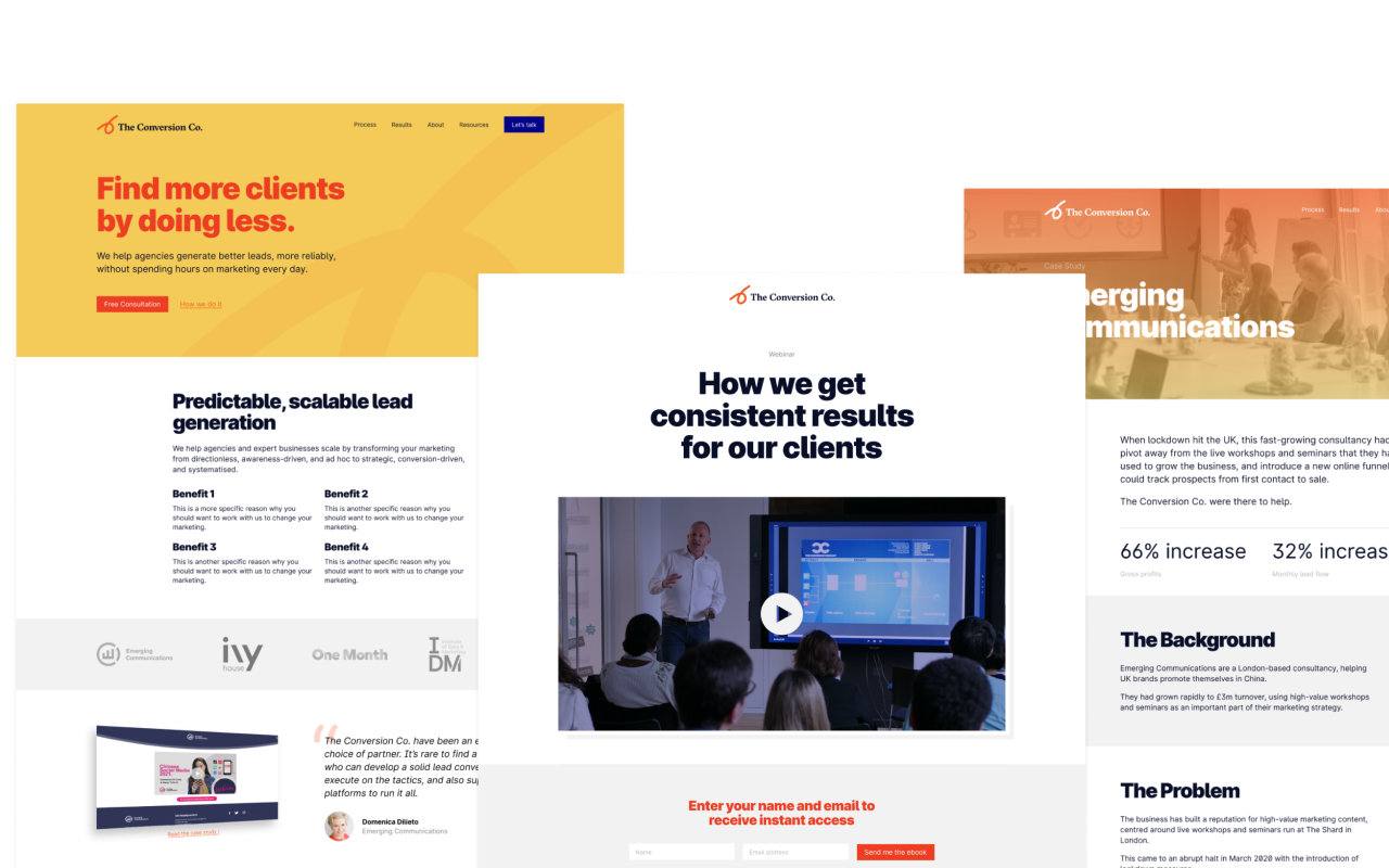 Web pages designed fo London-based marketing agency The Conversion Co.