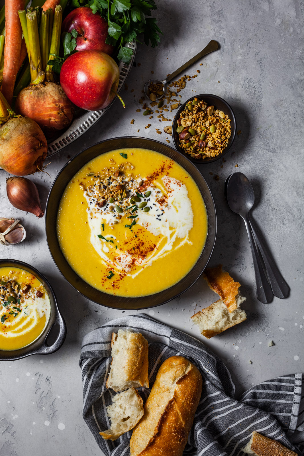 Creamy Roasted Golden Beet And Apple Soup