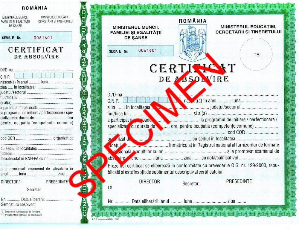 certificat absolvire