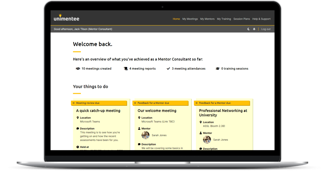 Unimentee homepage showing a dashboard for mentor consulants.