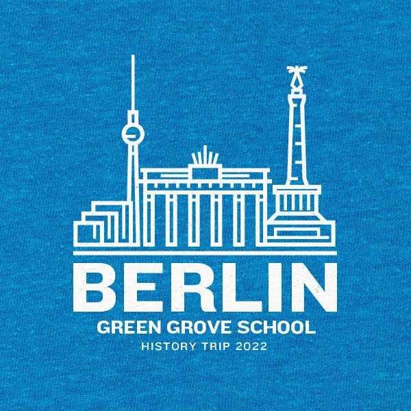 School trip hoodie design with an illustrated Berlin skyline