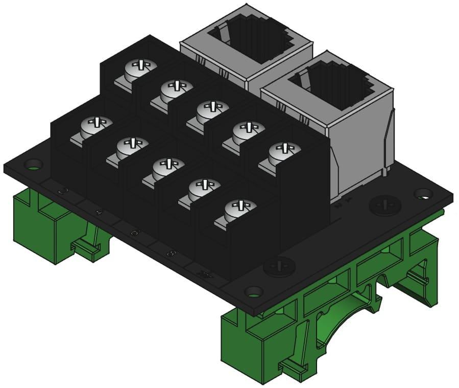 RJ45-TB2X5をDINレール取付けする際の組立完成図