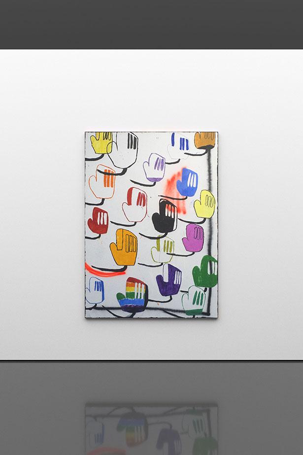 Ariadne's Hands (Hi5), 2016                oil and spray on canvas                190 × 136 cm
