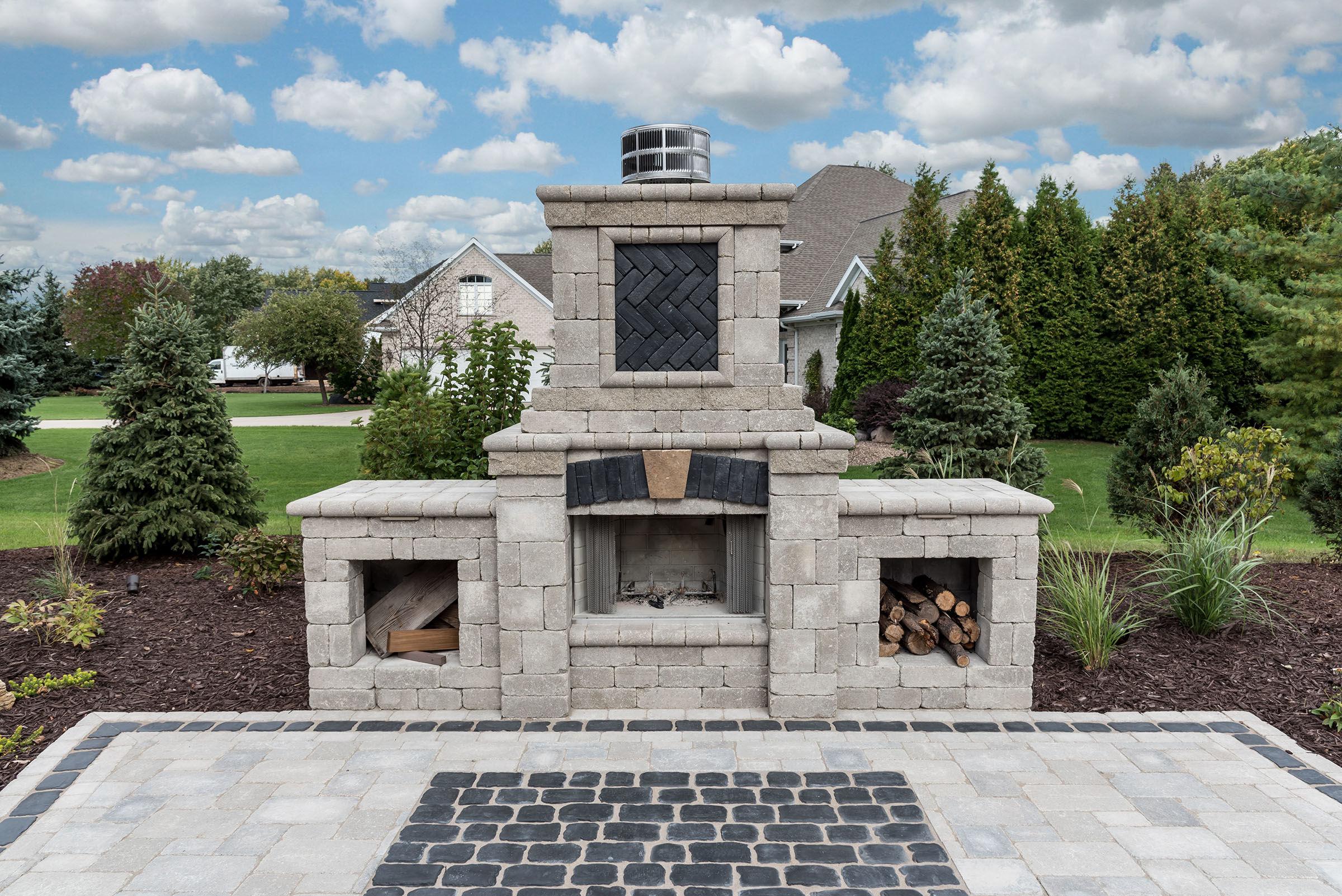 Home Exterior Fireplace