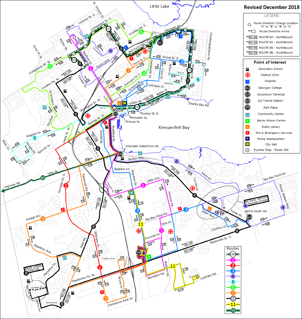 Barrie Transit map